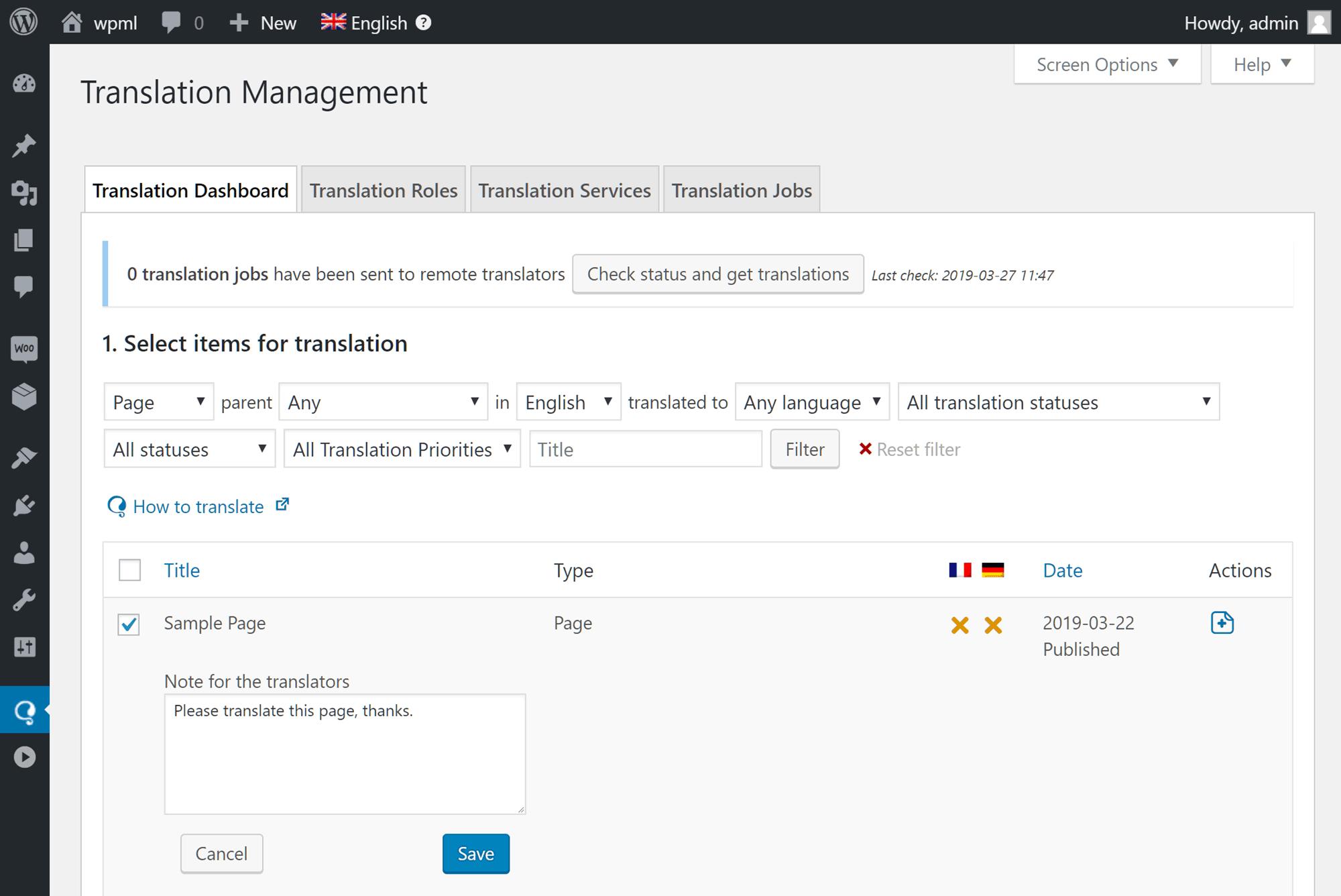 WPML-oversettelsesjobbstyring