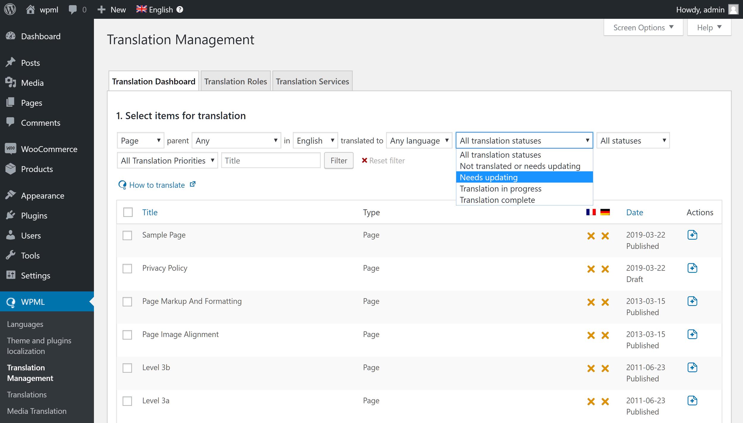 WPML-oversettelseshåndtering