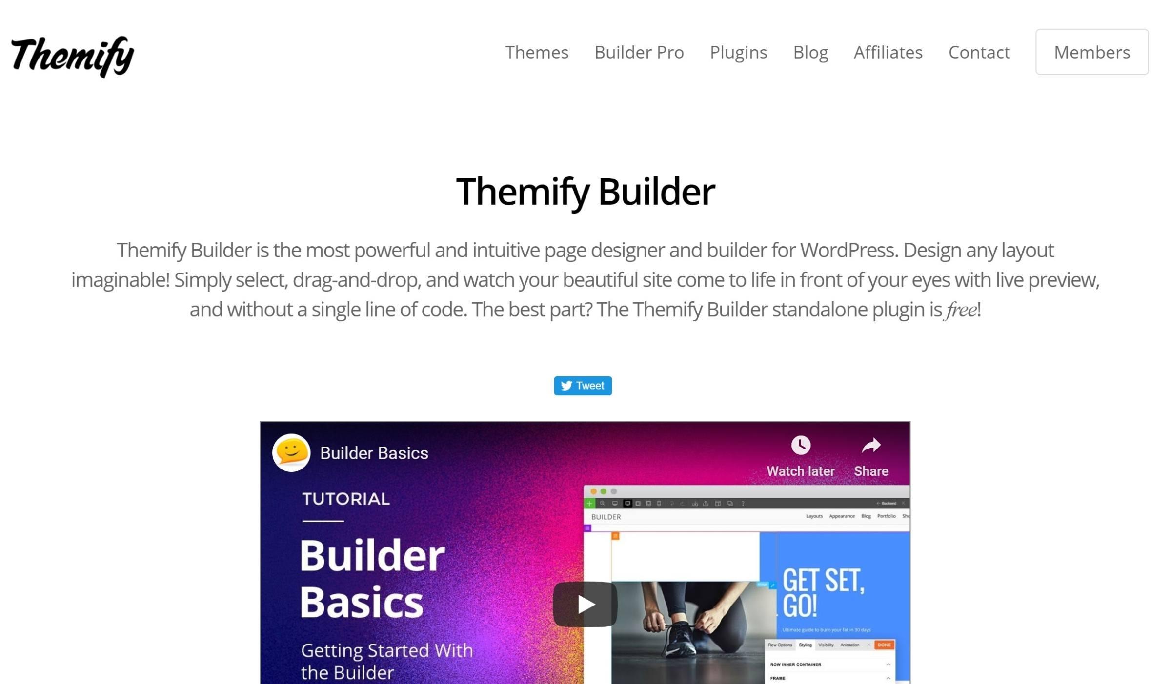 Themify Builder səhifə generator plugin