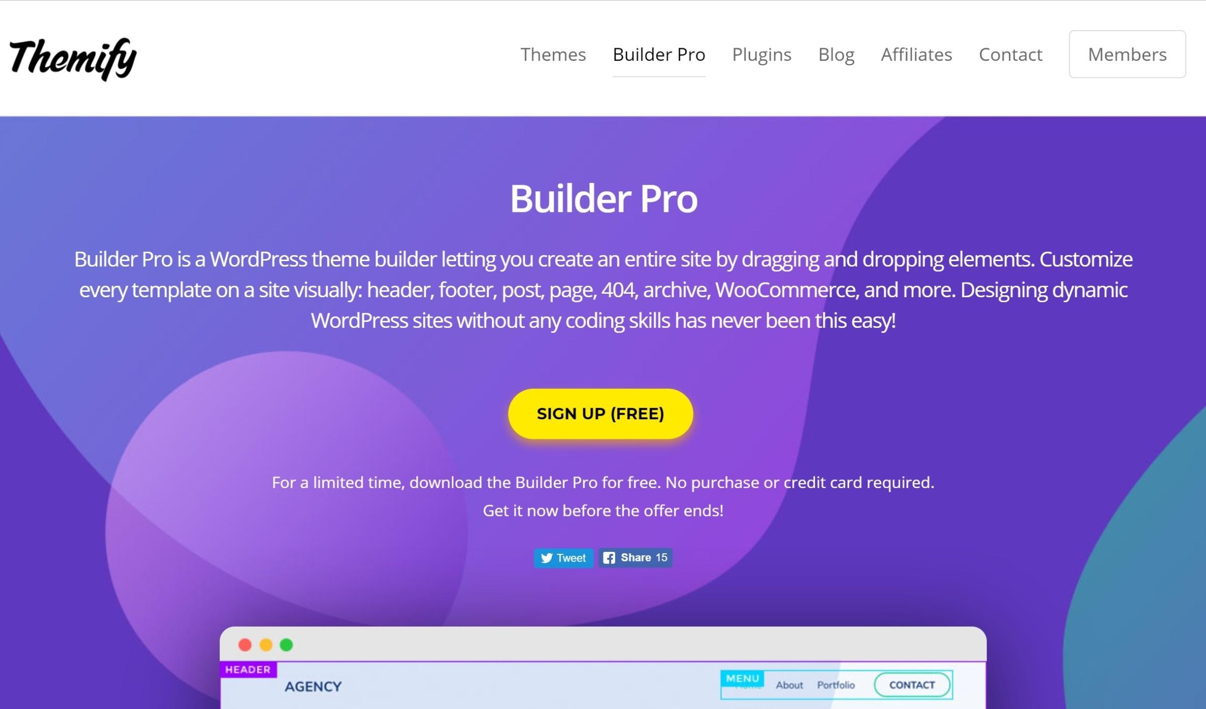 Builder Pro WordPress Tema Yaradan