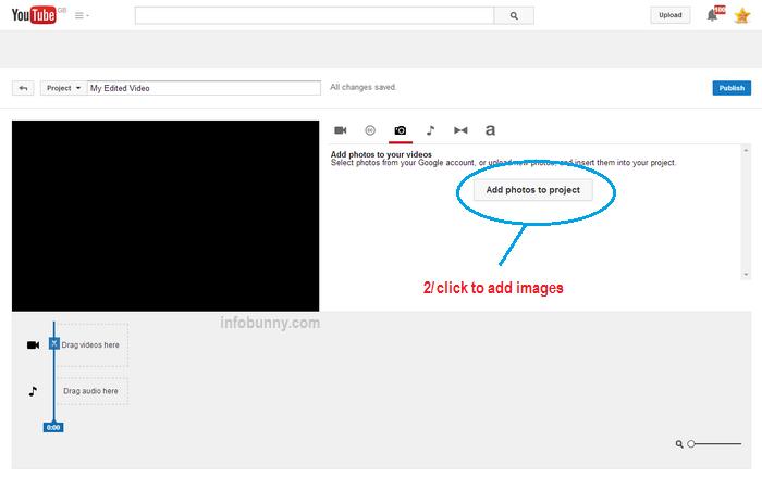 YouTube  Videostrategie YouTube Editor fügt Bilder hinzu