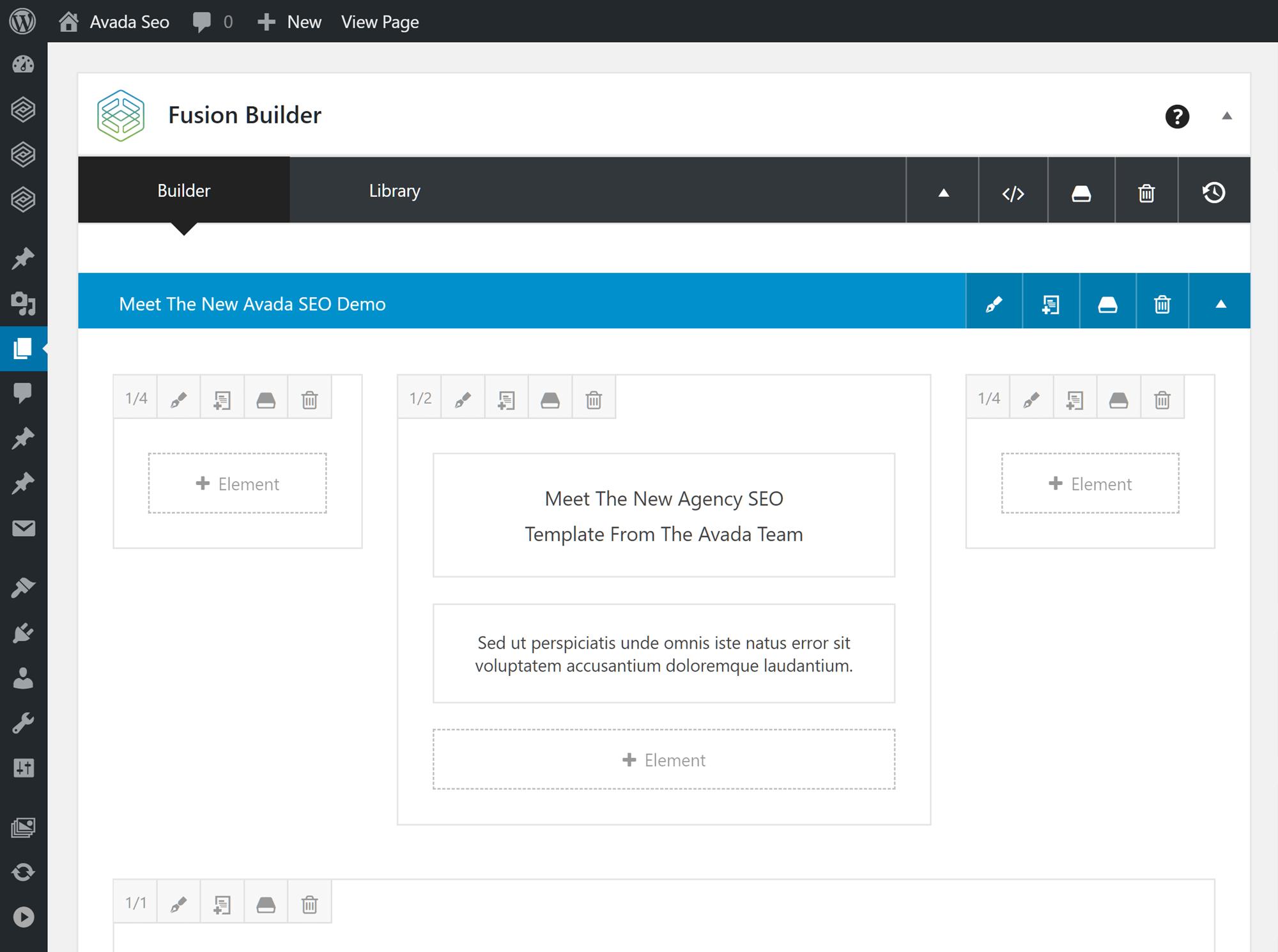 Fusion Builder istifadəçi interfeysi