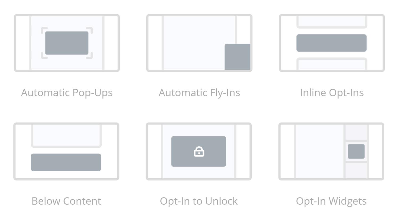 Tipos de formulario de plugin Bloom Optin
