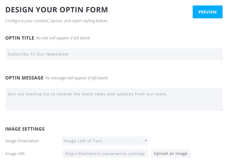 Entwerfen Sie das Optin-Formular