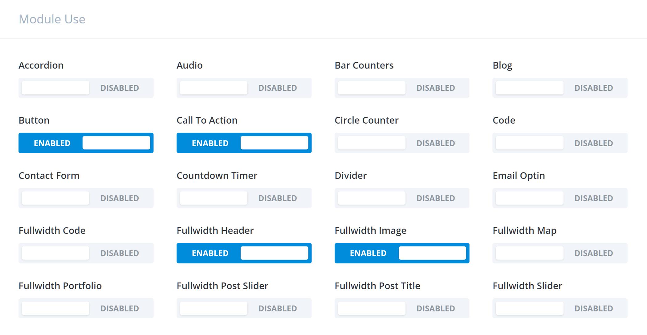 Divi Builder rolu redaktoru modulları