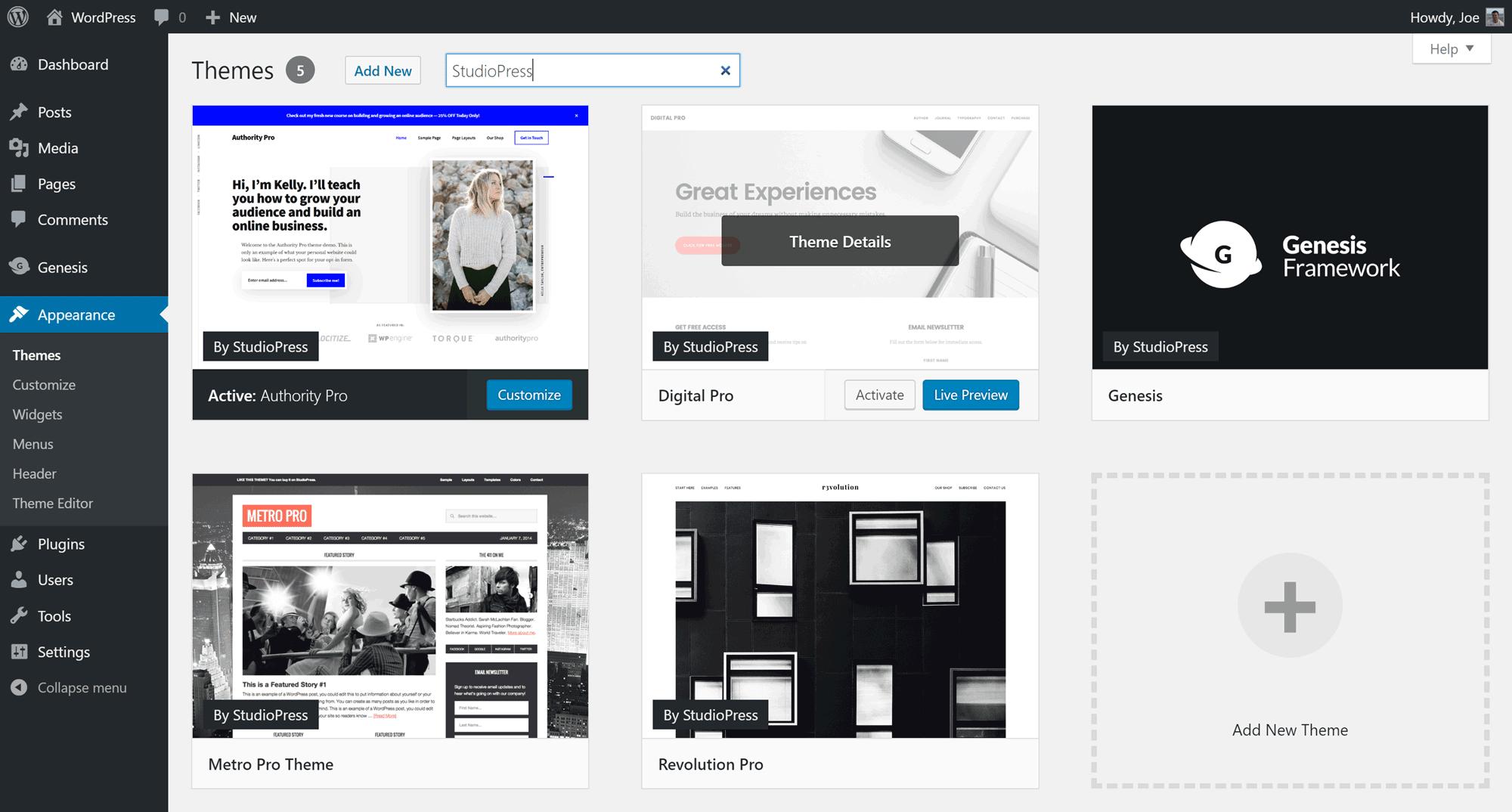 WordPress tablosuna StudioPress mövzuları