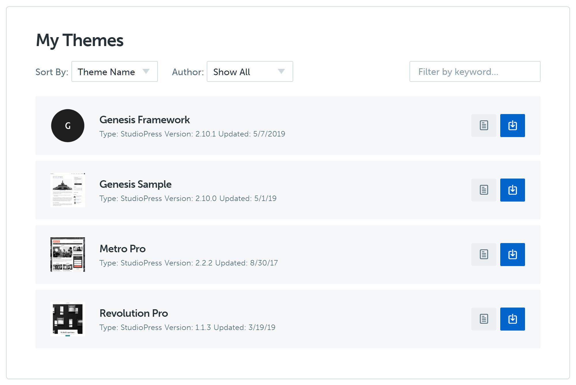 StudioPress hesab sahəsi