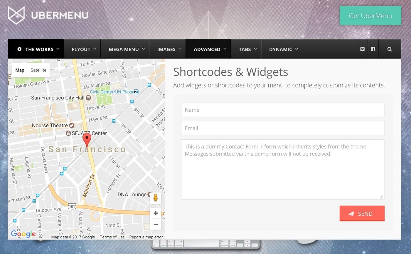 Bir Google xəritəsi və bir UberMenu'ya daxil edilmiş bir əlaqə formasının ekran görüntüsü