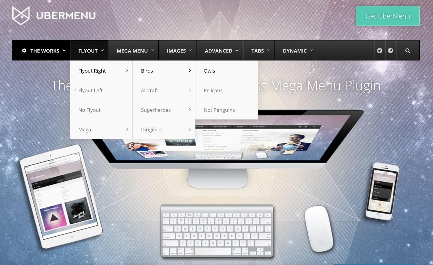 Bir UberMenu açılan menyunun ekran görüntüsü