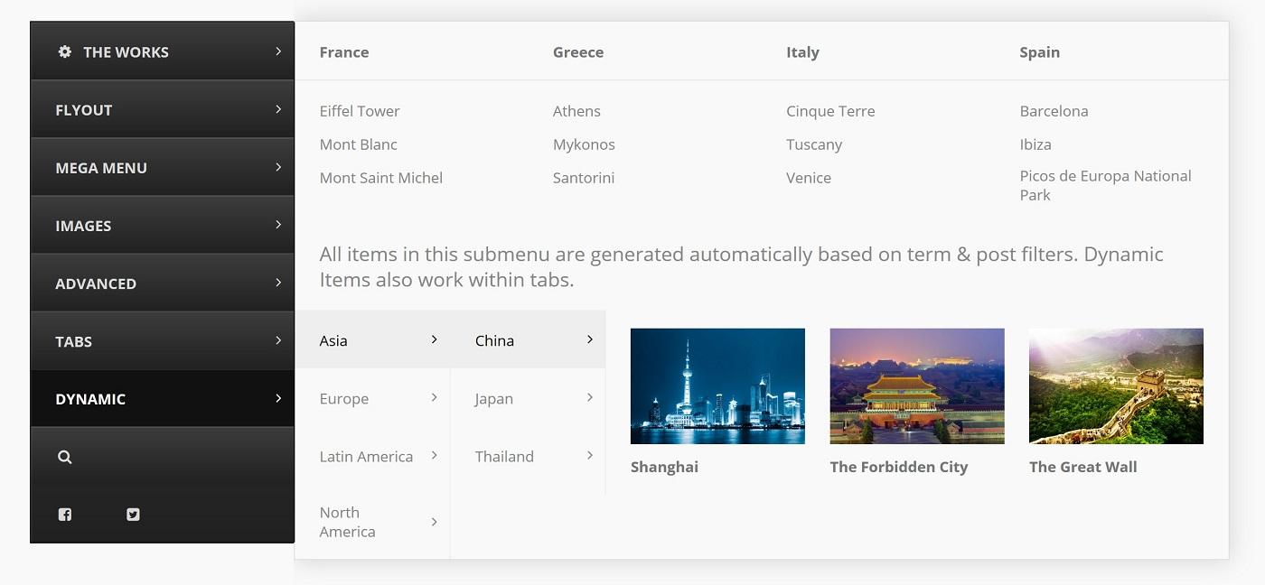 UberMenu ilə yaradılan bir şaquli menyunun ekran görüntüsü.