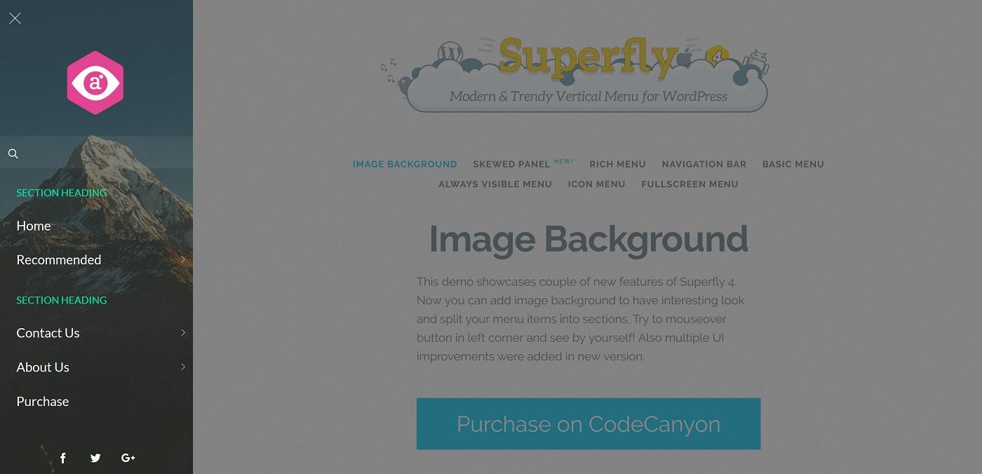 Sol hizalanmış Superfly menyusunun ekran görüntüsü