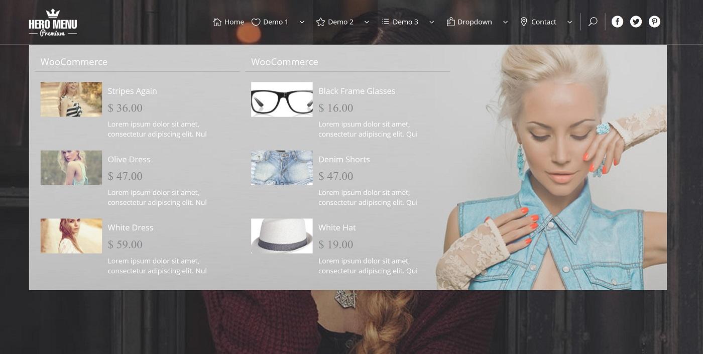 Bir ekran görüntüsü WooCommerce və Hero Menyu inteqrasiyasını göstərir