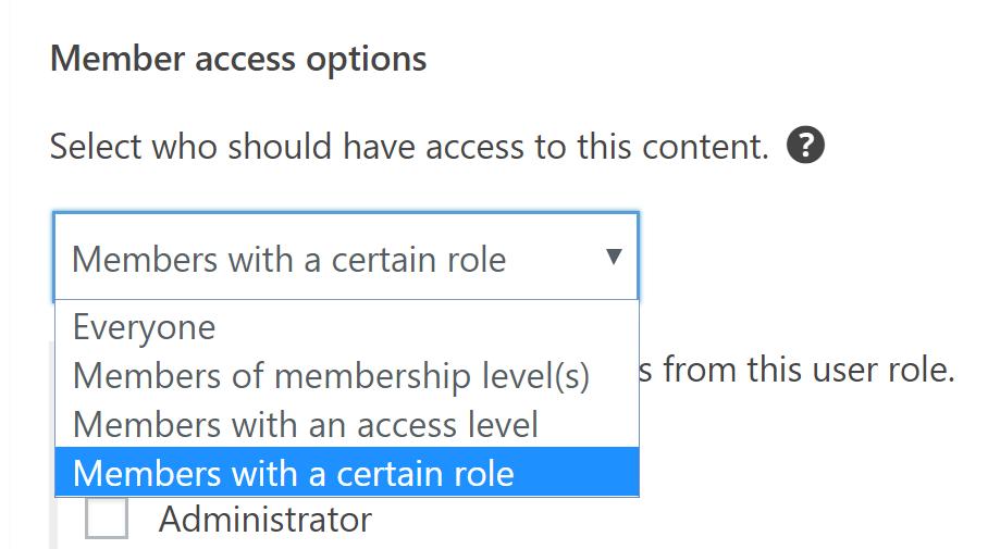 Opciones de acceso de miembros