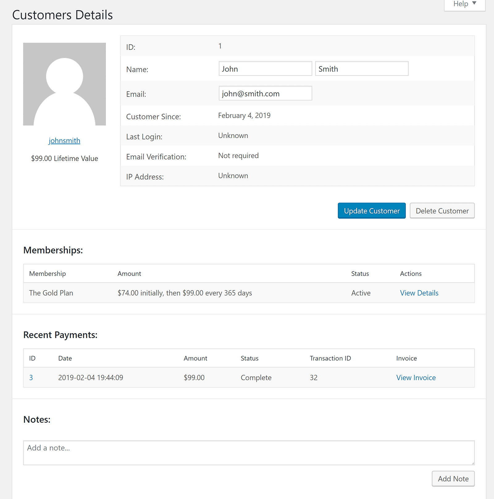 datos del cliente
