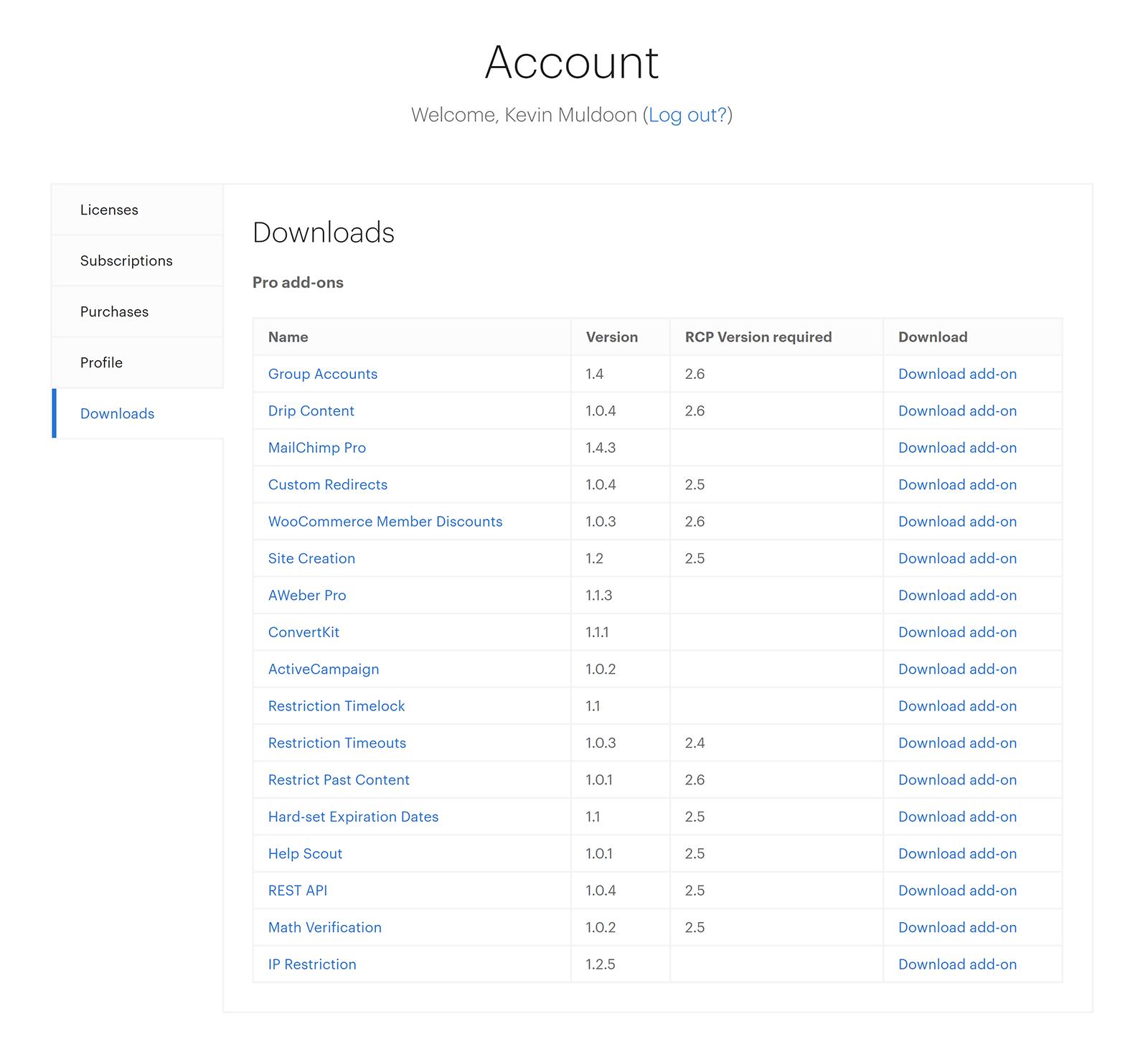 Lista de descargas de complementos profesionales