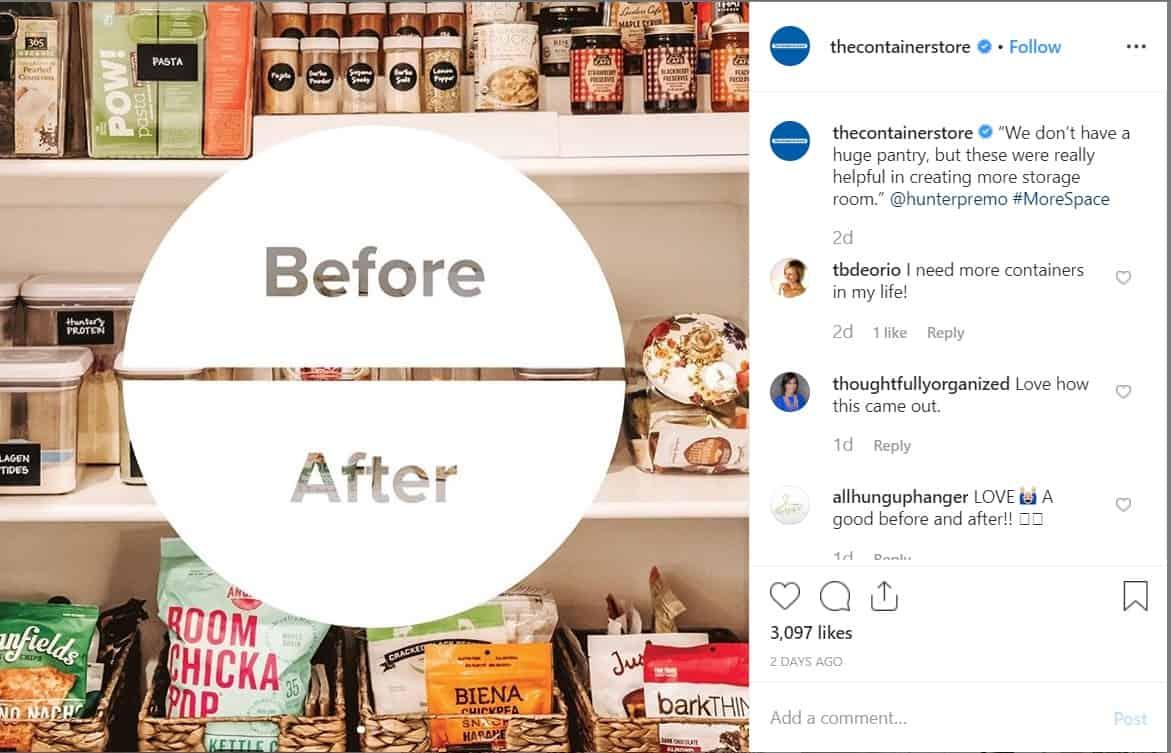 el carrusel de instagram de la tienda de contenedores antes y después