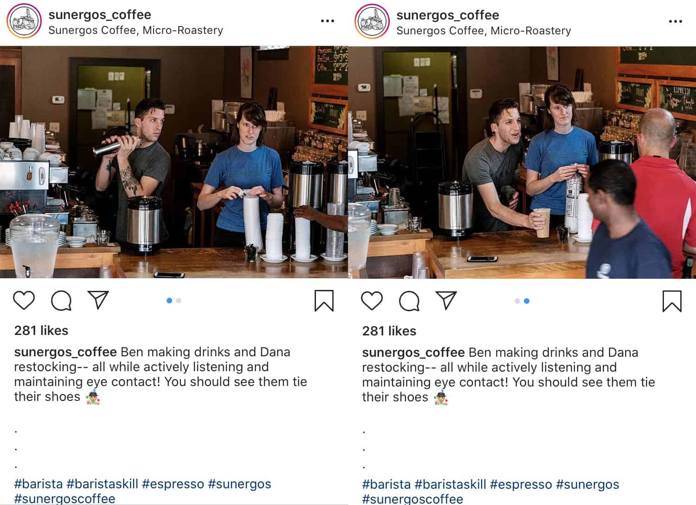 Muestra de carrusel de Instagram bts