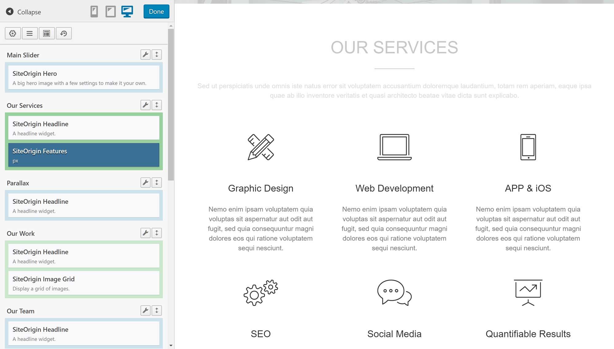 SiteOrigin Page Builder istifadəçi interfeysi nümunəsi