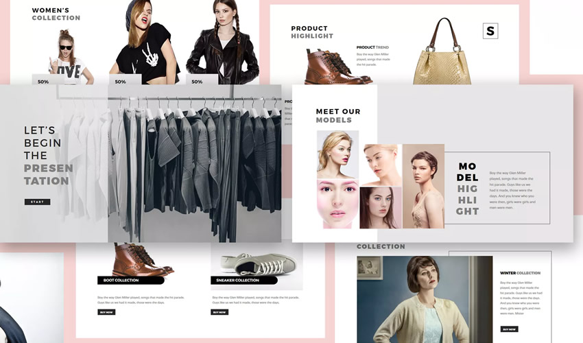 Plantilla de presentación del tema Fashion Lookbook google slides