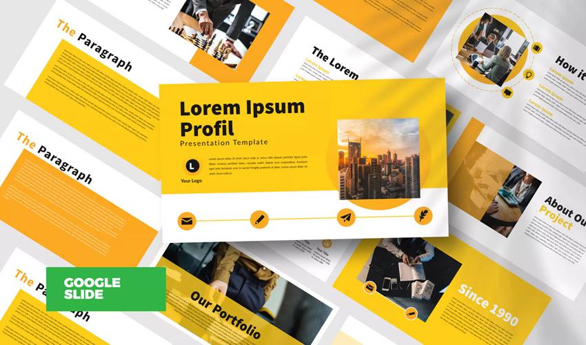 Plantilla de presentación de diapositivas de google empresarial amarilla