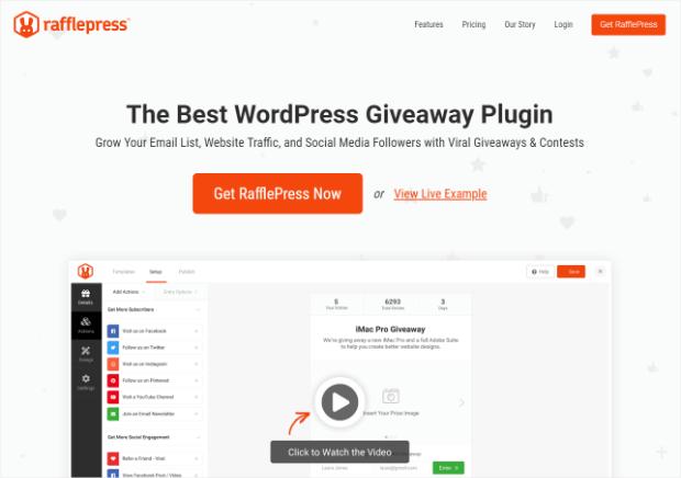 rafflepress es el mejor complemento de sorteo de wordpress