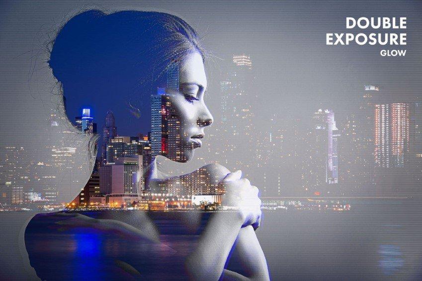 Acciones de Photoshop de resplandor de doble exposición