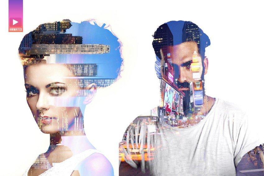 Acción animada de Photoshop de doble exposición de paralaje