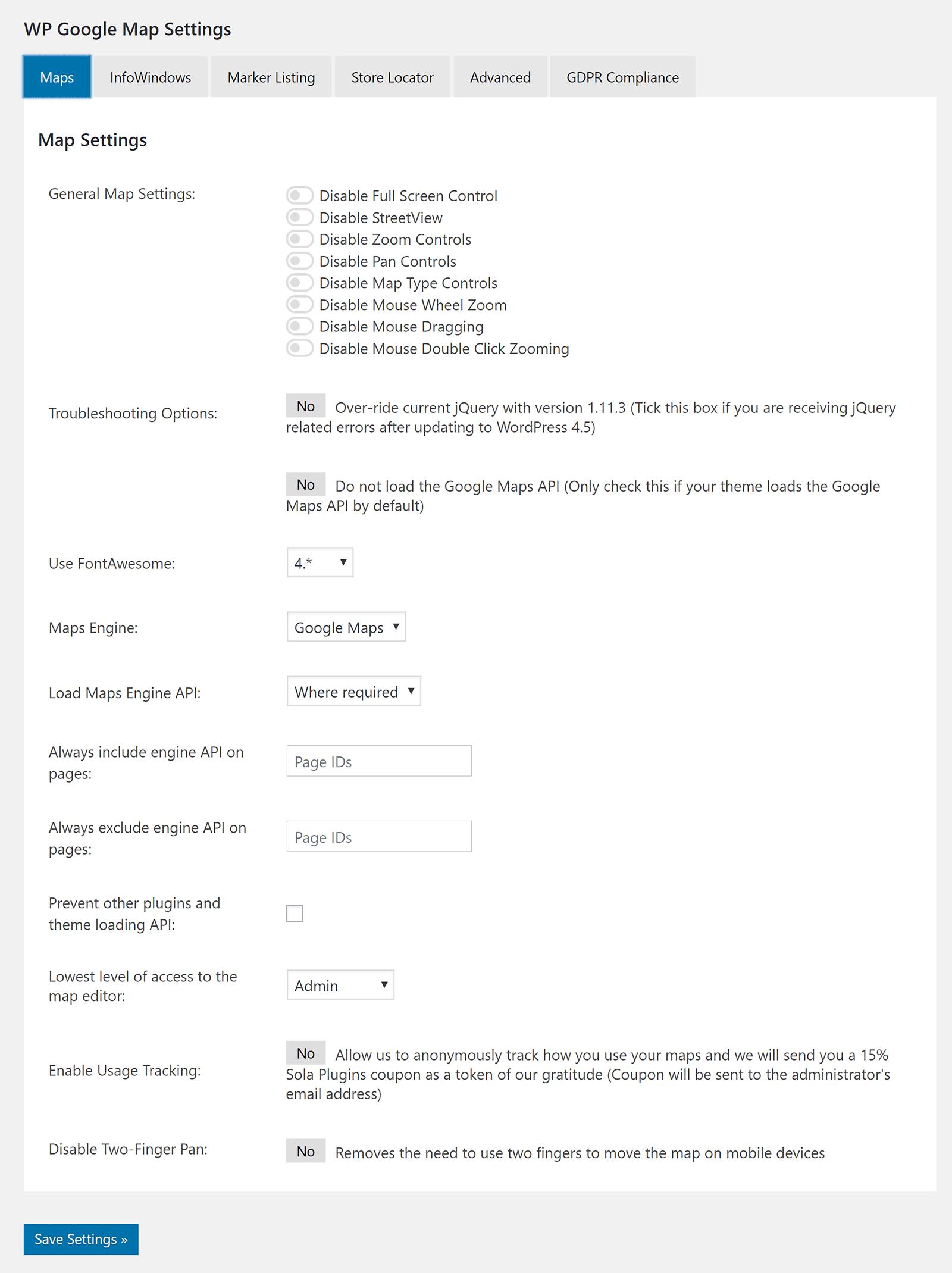 WP Google Xəritə Parametrləri