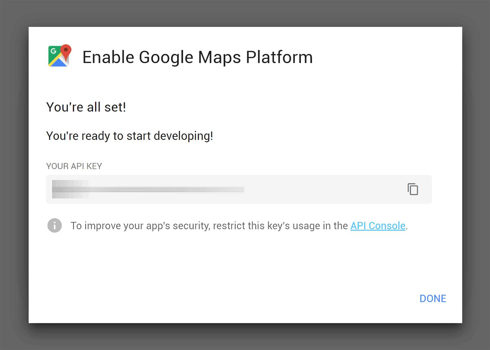 Google Maps API açarı