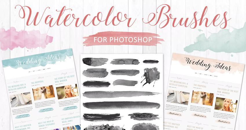 Yumşaq və incə quruluşlu Photoshop fırçaları Adobe akvarel dəsti