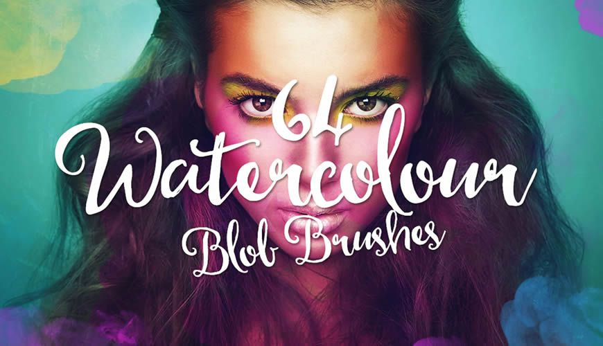 Free Colorful Watercolor Photoshop Brushes