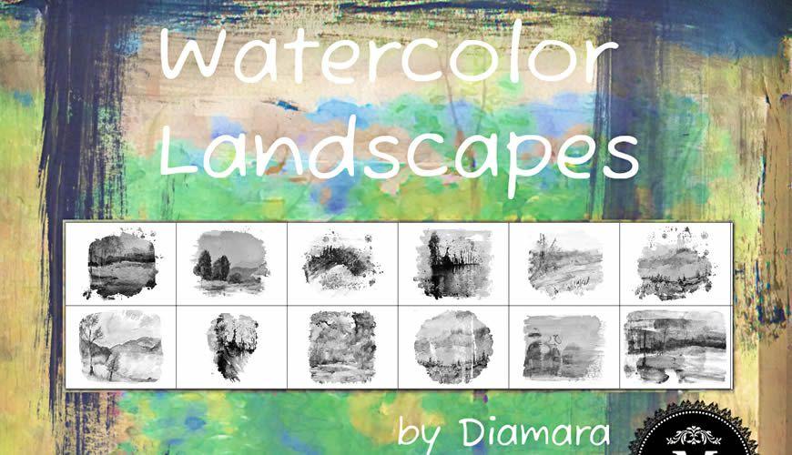 فرش فوتوشوب ألوان مائية المناظر الطبيعية الحرة
