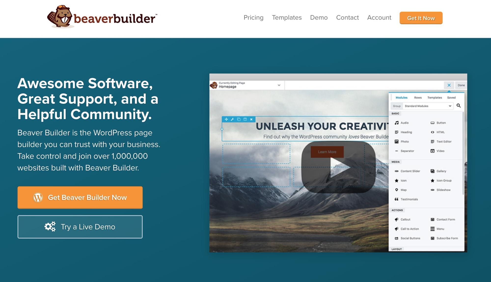 WordPress səhifə qurucusu plaginləri # 2: Qunduz inşaatçısı