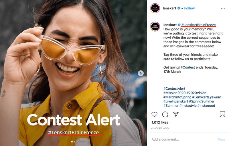 müsabiqə nəşrinin nümunəsi Instagram şəkil və başlıqda marka hashtag daxildir