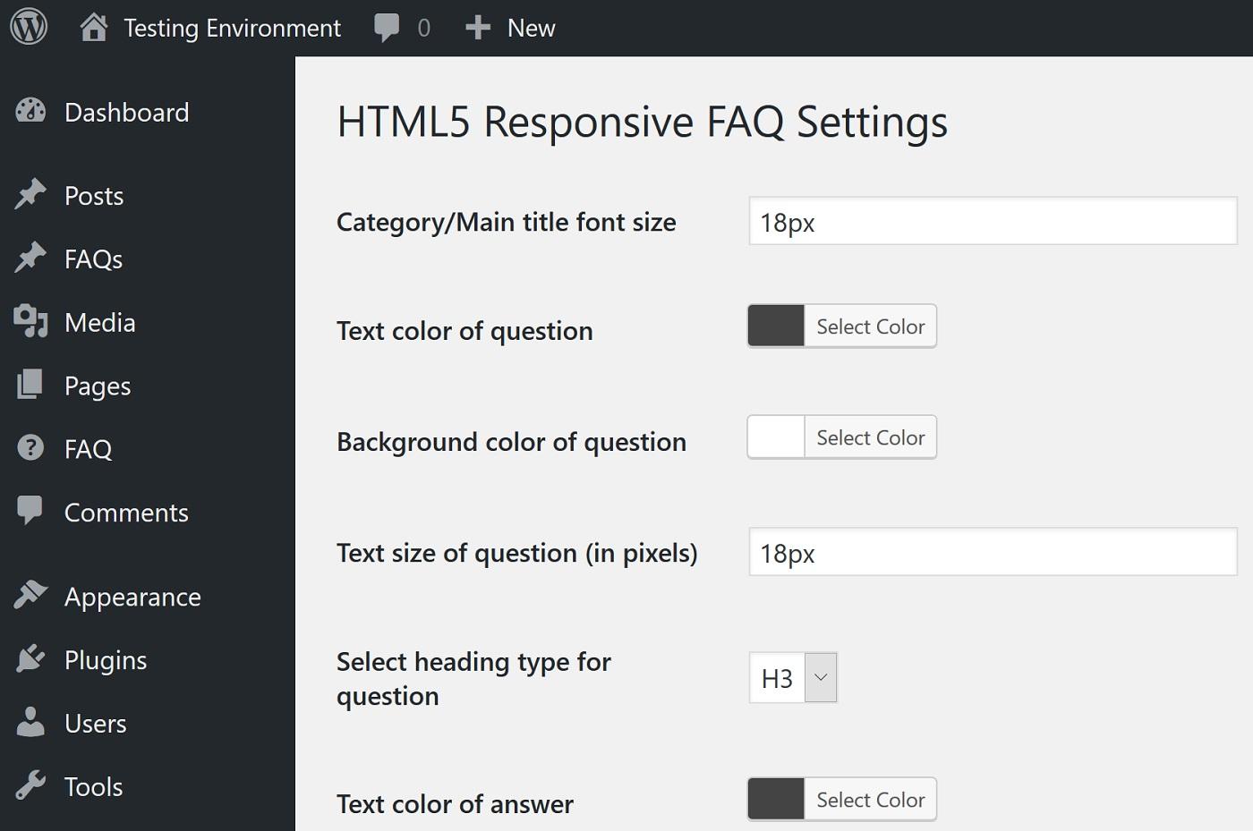 """HTML5 Cavablandırıcı FAQ parametrləri ekranının bir ekran görüntüsü """"width ="""" 1400 """"height ="""" 929"""