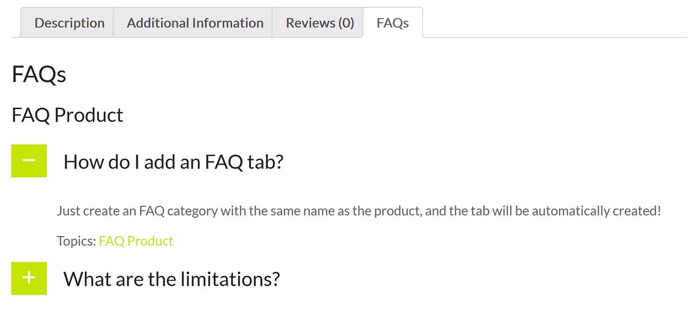 WooCommerce və Ultimate FAQ inteqrasiyasını nümayiş etdirən ekran görüntüsü
