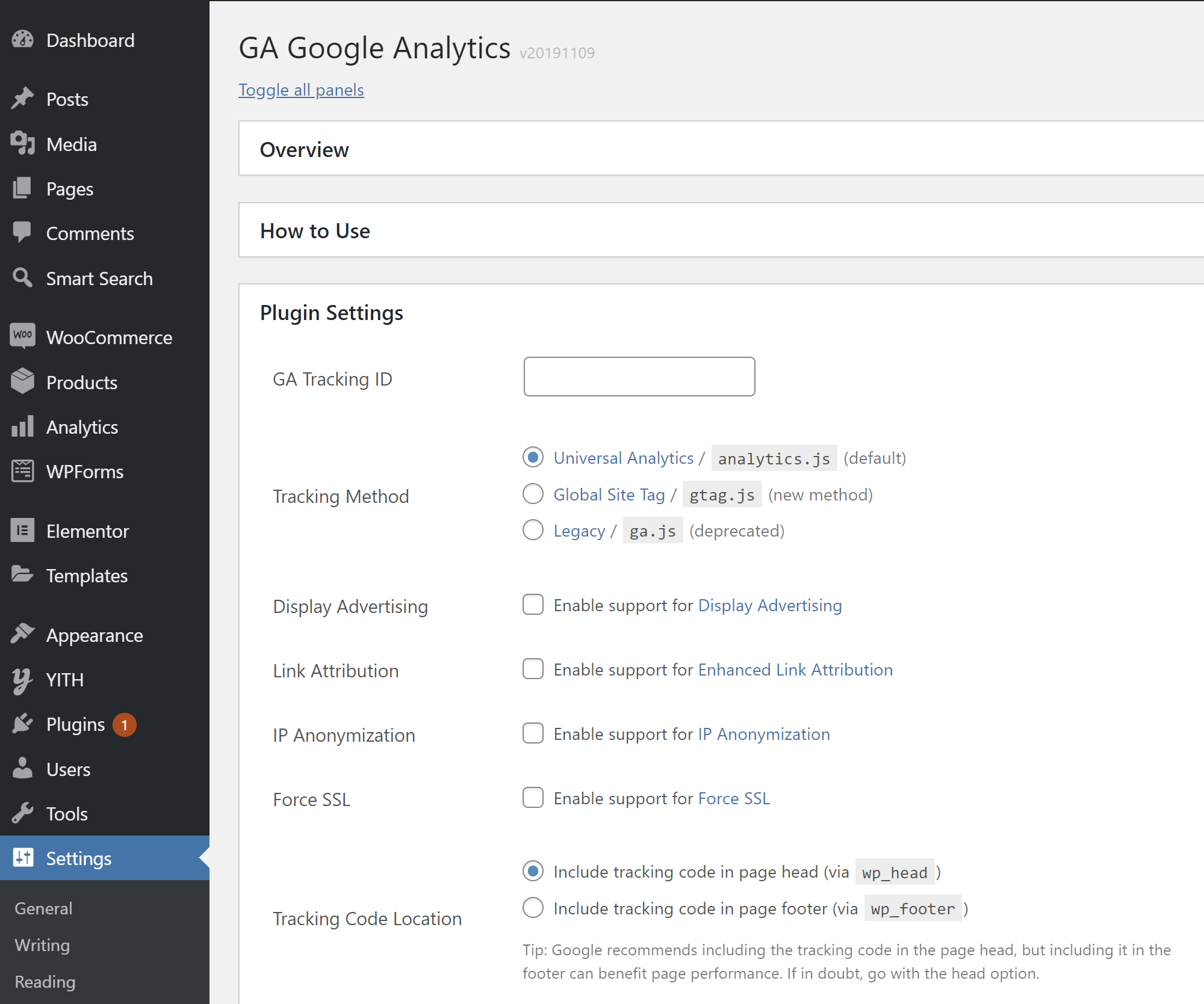 GA Google Analytics Plugin Konfiqurasiyası