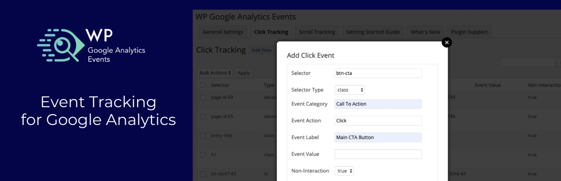 Complemento de eventos de WP Google Analytics