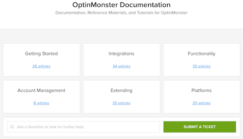 Documentos de soporte de OptinMonster