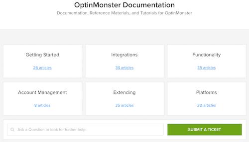 Documents de support d'OptinMonster