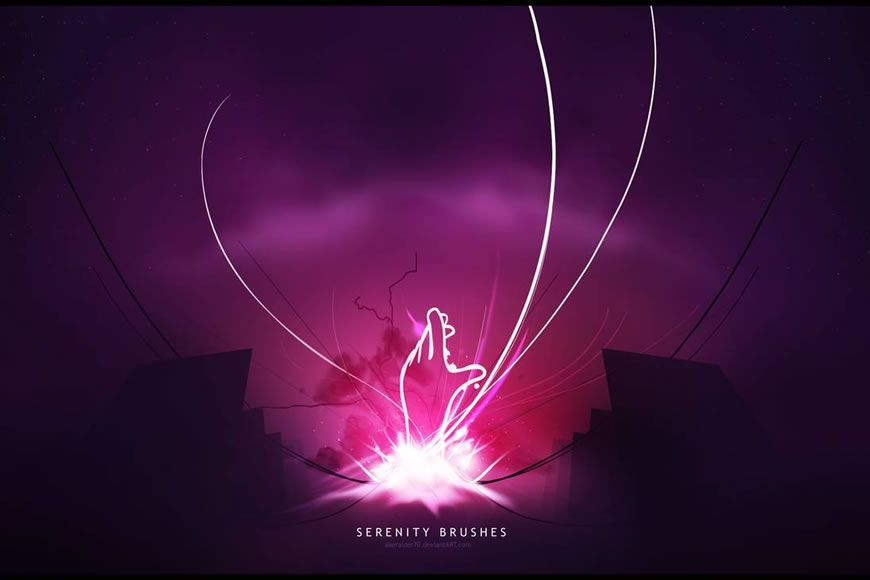Serenity Light Streak Effect Free Photoshop Brushes