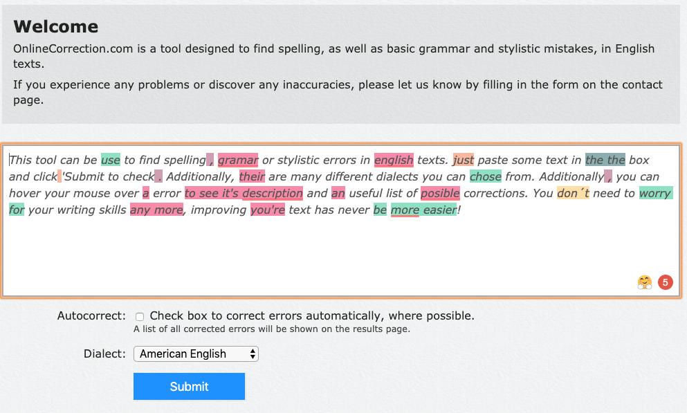 Herramienta de corrección de texto en línea