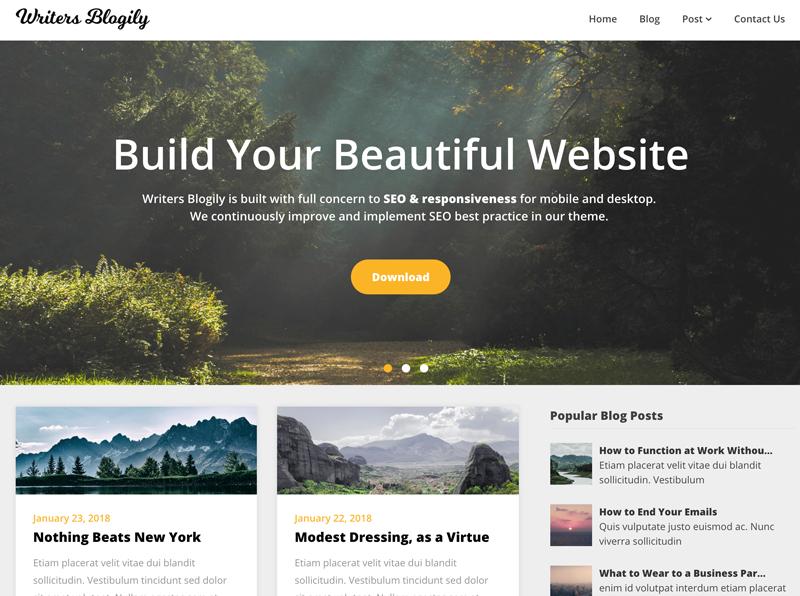 El tema WordPress de Writers Blogily es el número 8 cuando se trata de temas preparados para el futuro