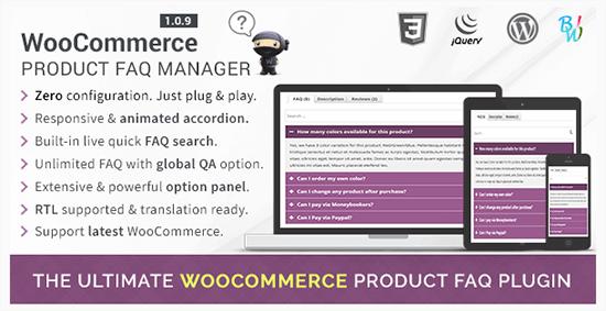 gerente de preguntas frecuentes sobre productos de woocommerce
