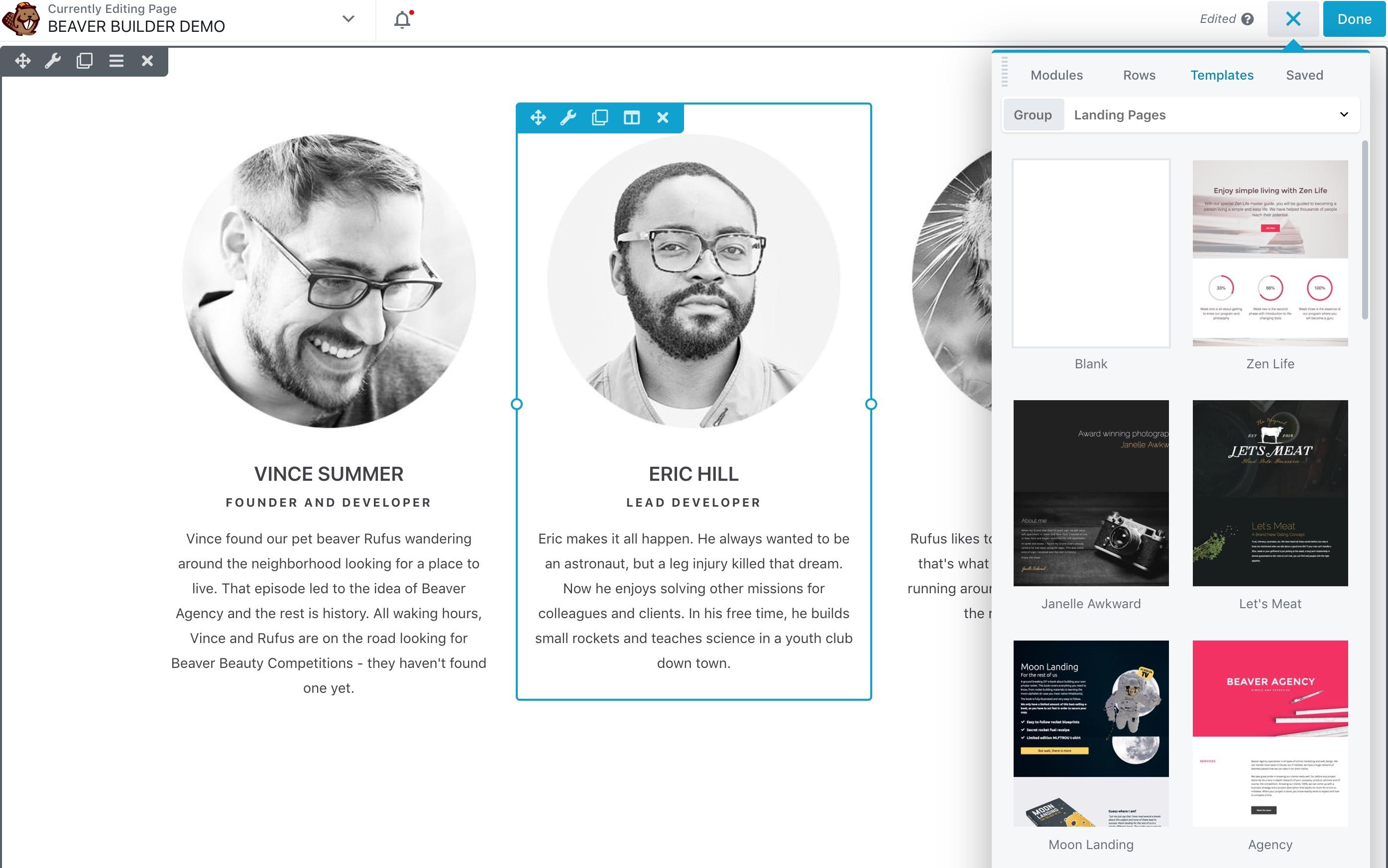 página del castor personalizar