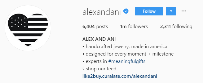 La biografía de Instagram de Alex y Ani está optimizada para vender en Instagram con su CTA