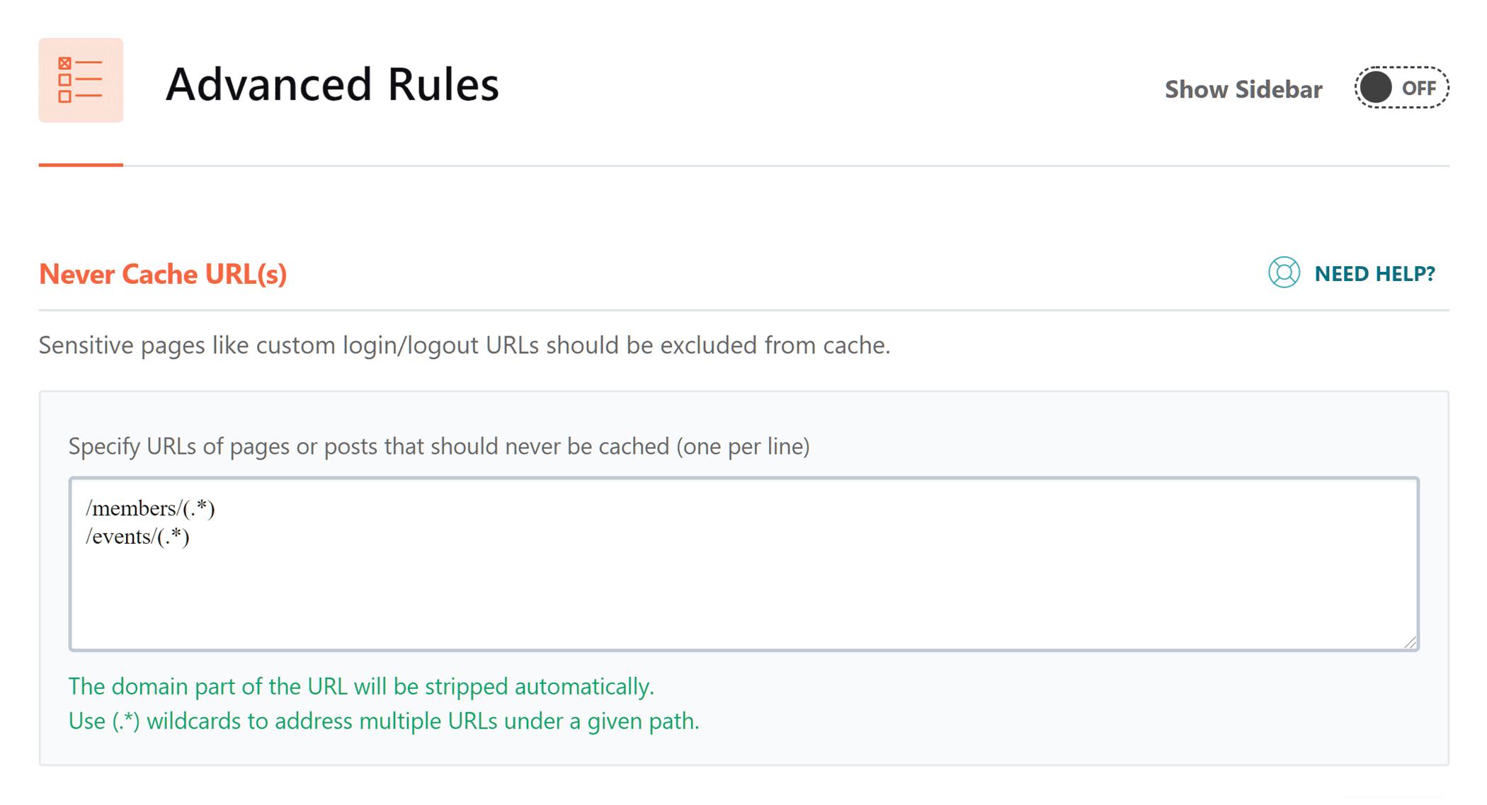 Configuración de almacenamiento en caché de URL