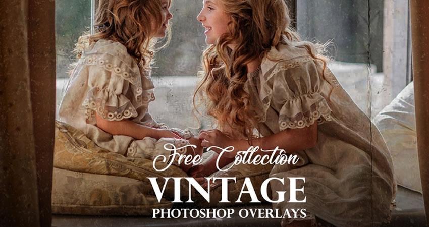 Efectos de fotografía de superposiciones de Photoshop vintage