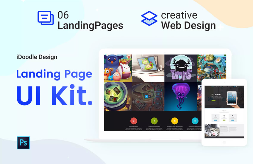UI Kits Landing Page webdesign adobe design photoshop template free psd format