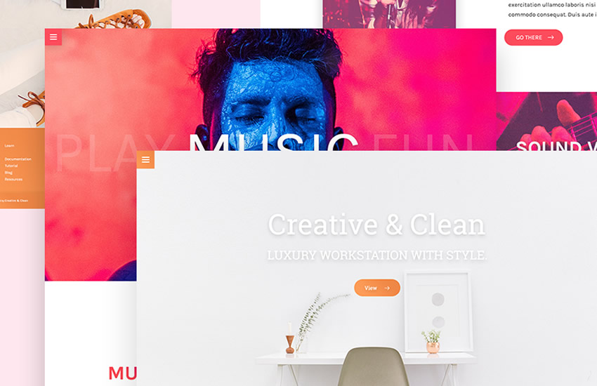 Çox açılış səhifələri, veb səhifə dizaynı, Adobe Photoshop şablonu, pulsuz PSD formatı